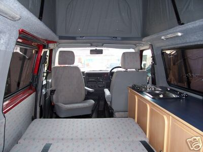 The Bed Down In A VW Transporter Camper Van Notice Sloping Roof Sides Something To Consider
