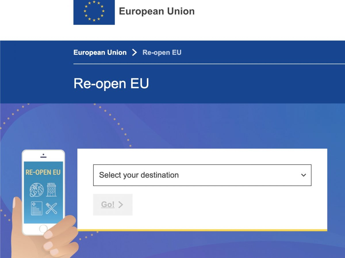Website showing when EU countries are opening to visitors